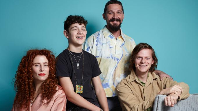 Cast photo of Honey Boy- Shia LaBeouf, Noah Jupe, Lucas Hedges, and director, Alma Har'el.