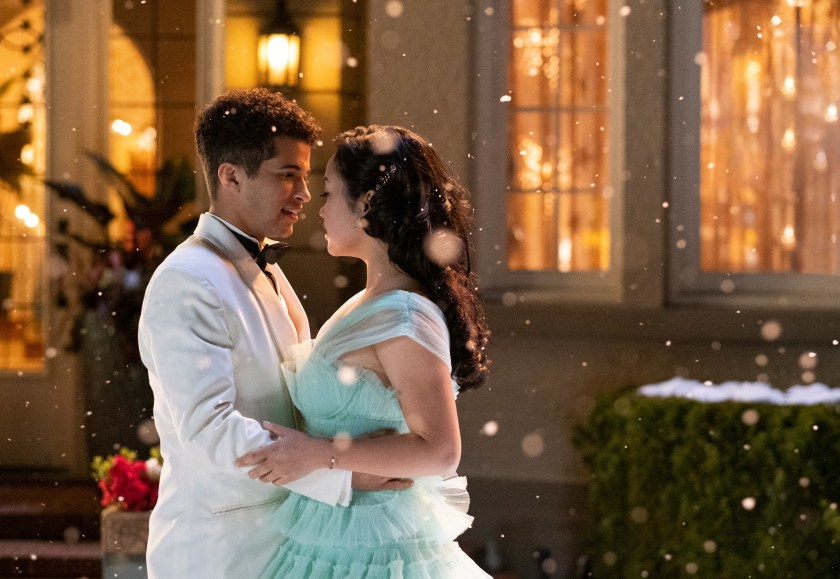 Image still from To All The Boys: P.S. I Still Love You- Lara Jean (Lana Condor) and John Ambrose (Jordan Fisher) dancing in the snow