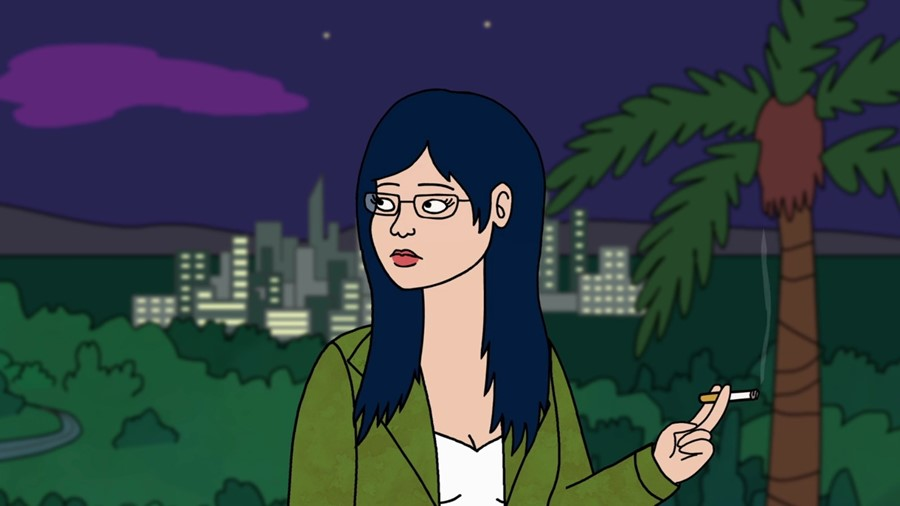 Image still from Bojack Horseman- Diane Nguyen smoking a cigarette in the city.