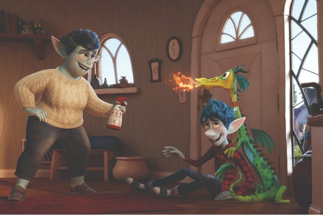 Image still from Onward- Laurel Lightfoot is playing with her son, Ian Lightfoot, and their pet dragon.