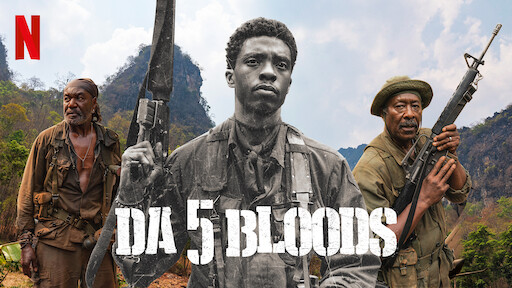 Movie poster for Da 5 Bloods with Delroy Lindo, Chadwick Boseman, and Clarke Peters