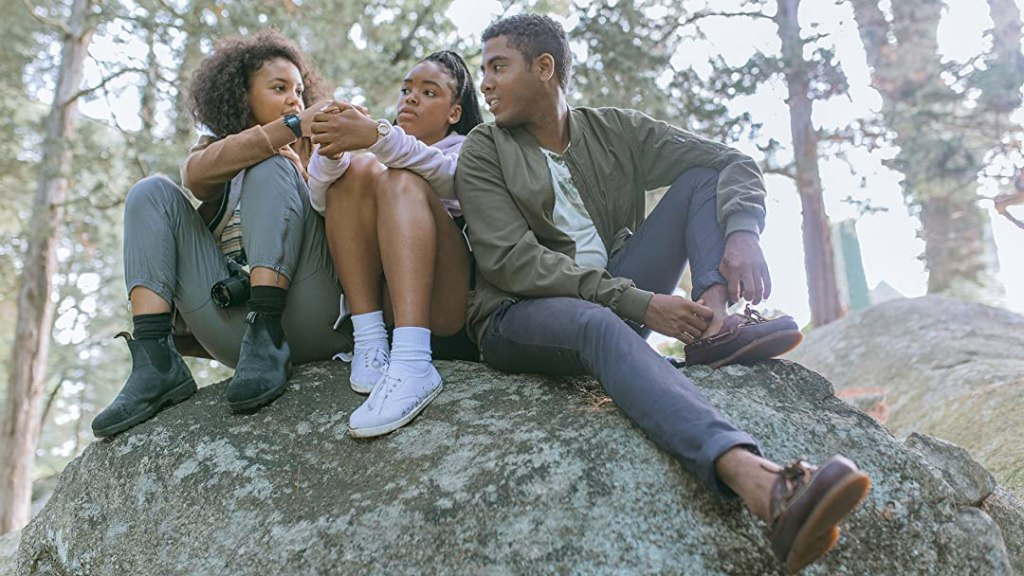 Image still from Selah and the Spades (2020)- with Lovie Simon, Jharrel Jerome, and Celeste O'Conner.