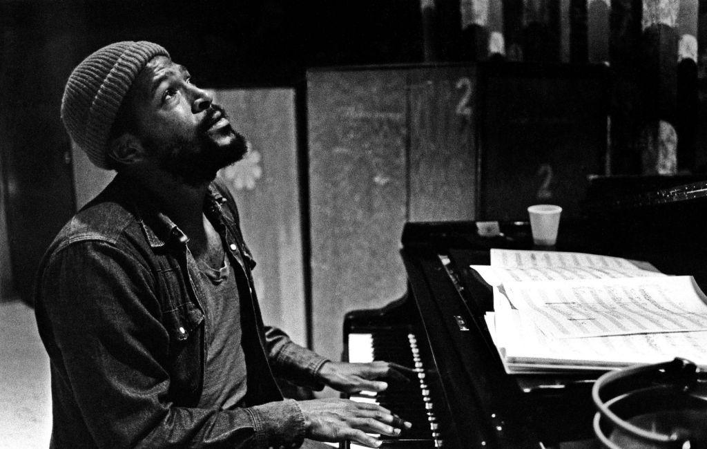 Photo of Marvin Gaye at a piano