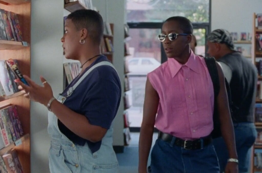 Image still from The Watermelon Women (1996)- with Cheryl Dunye and Valerie Walker