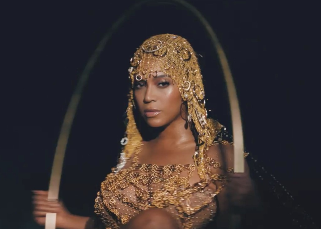 Image still from Black is King- with Beyonce dressed in gold