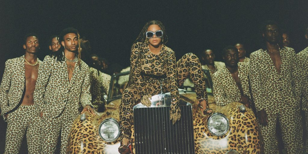Image still from Black is King- with Beyonce and others dressed in cheetah print