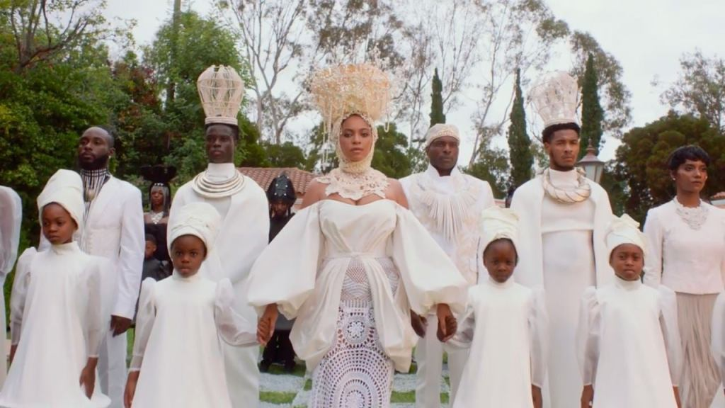 Image still from Black is King- with Beyonce and others in all white